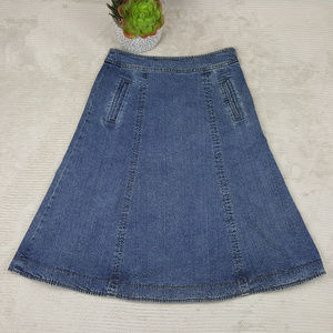 Garnet Hill A Line Modest Denim Panel Skirt